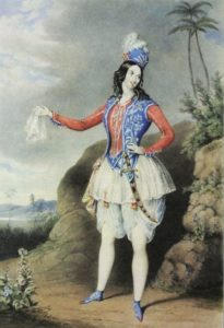 Louisa Fairbrother as Abdallah in the extravaganza The Forty Thieves 1844 (V&A Theatre Collection)